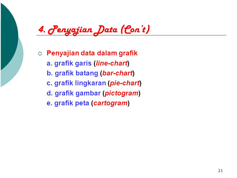 21 4. Penyajian Data (Con't)  Penyajian data dalam grafik a. grafik garis (line-chart) b. grafik batang (bar-chart) c. grafik lingkaran (pie-chart) d