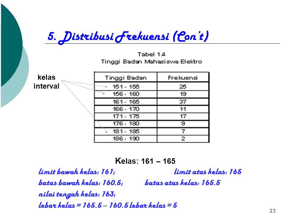 23 5. Distribusi Frekuensi (Con't) K elas: 161 – 165 limit bawah kelas: 161; limit atas kelas: 165 batas bawah kelas: 160.5; batas atas kelas: 165.5 n