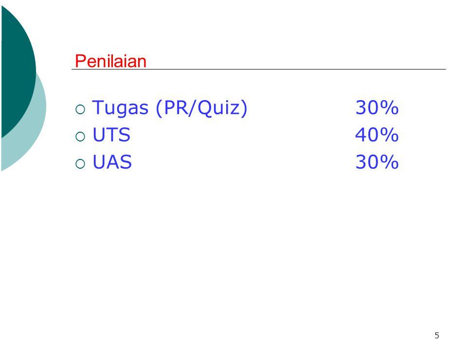 5 Penilaian  Tugas (PR/Quiz) 30%  UTS 40%  UAS30%