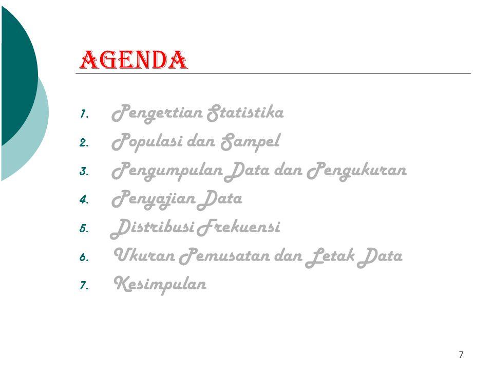 7 Agenda 1. Pengertian Statistika 2. Populasi dan Sampel 3. Pengumpulan Data dan Pengukuran 4. Penyajian Data 5. Distribusi Frekuensi 6. Ukuran Pemusa