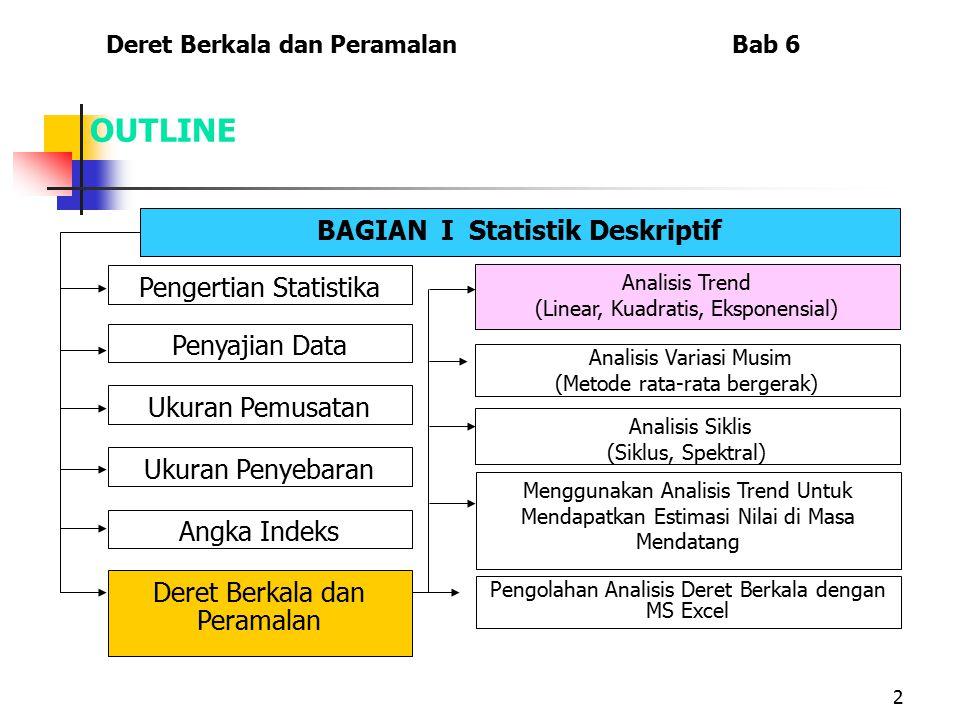 2 OUTLINE BAGIAN I Statistik Deskriptif Pengertian Statistika Penyajian Data Ukuran Penyebaran Ukuran Pemusatan Angka Indeks Deret Berkala dan Peramal