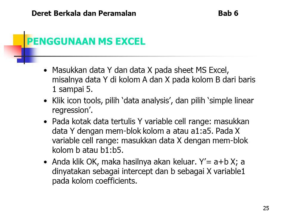 25 PENGGUNAAN MS EXCEL Masukkan data Y dan data X pada sheet MS Excel, misalnya data Y di kolom A dan X pada kolom B dari baris 1 sampai 5. Klik icon