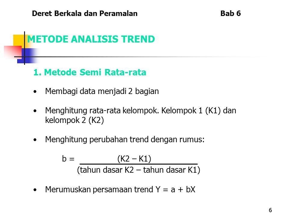 6 METODE ANALISIS TREND 1. Metode Semi Rata-rata Membagi data menjadi 2 bagian Menghitung rata-rata kelompok. Kelompok 1 (K1) dan kelompok 2 (K2) Meng