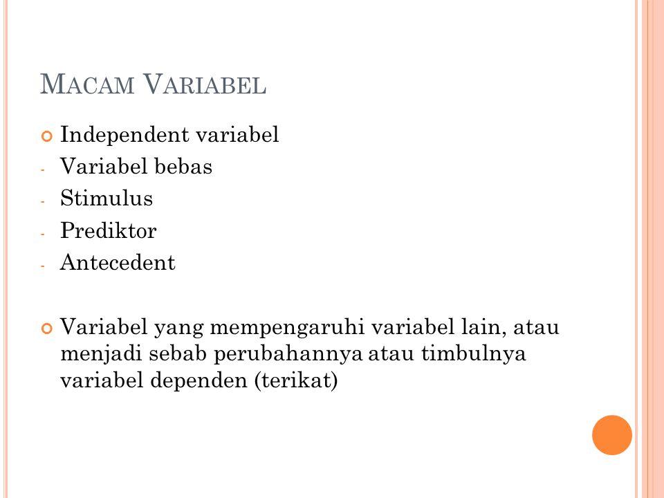 M ACAM V ARIABEL Independent variabel - Variabel bebas - Stimulus - Prediktor - Antecedent Variabel yang mempengaruhi variabel lain, atau menjadi seba