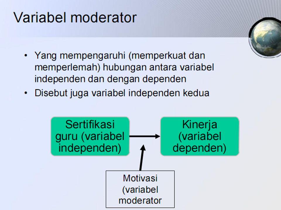 V ARIABEL INTERVENING Merupakan variabel penyela/antara yang terletak antara variabel independen dan variabel dependen Sehingga variabel independen mempunyai hubungan yang tidak langsung dengan variabel dependen