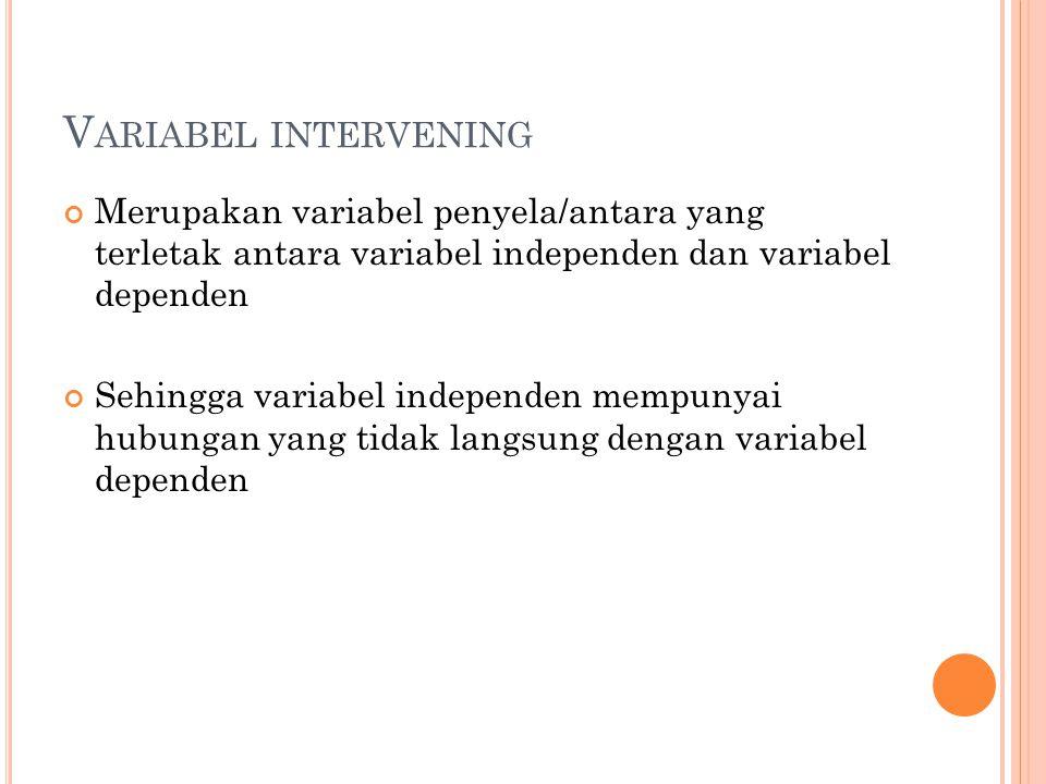 V ARIABEL INTERVENING Merupakan variabel penyela/antara yang terletak antara variabel independen dan variabel dependen Sehingga variabel independen me