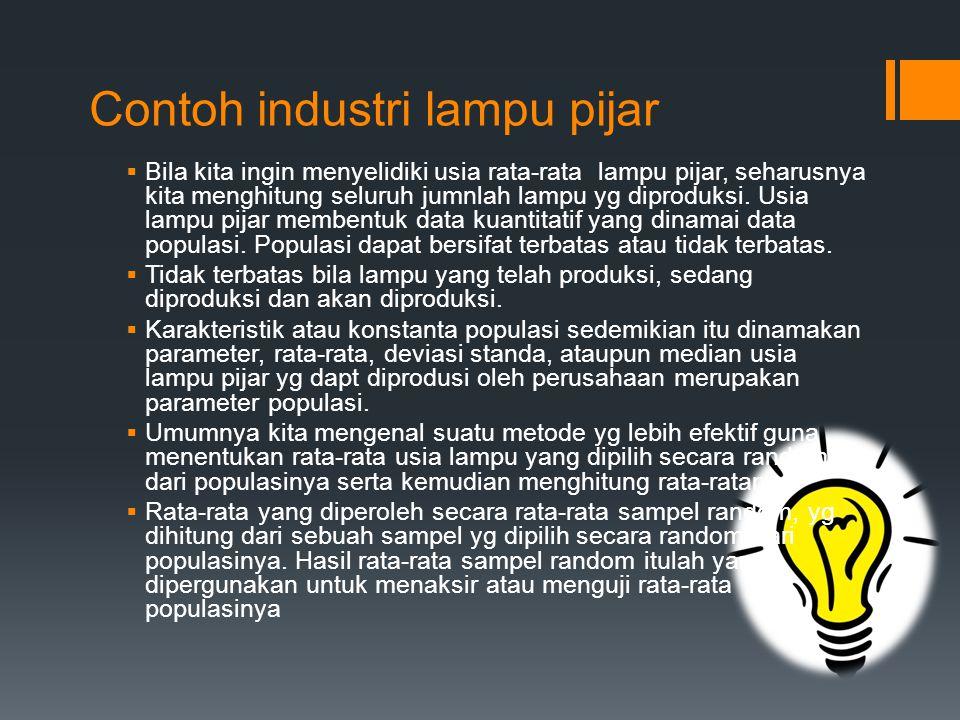 Contoh industri lampu pijar  Bila kita ingin menyelidiki usia rata-rata lampu pijar, seharusnya kita menghitung seluruh jumnlah lampu yg diproduksi.