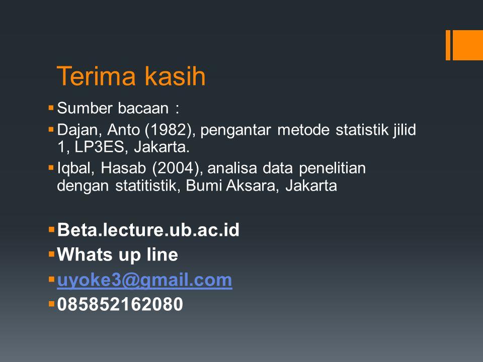 Terima kasih  Sumber bacaan :  Dajan, Anto (1982), pengantar metode statistik jilid 1, LP3ES, Jakarta.  Iqbal, Hasab (2004), analisa data penelitia