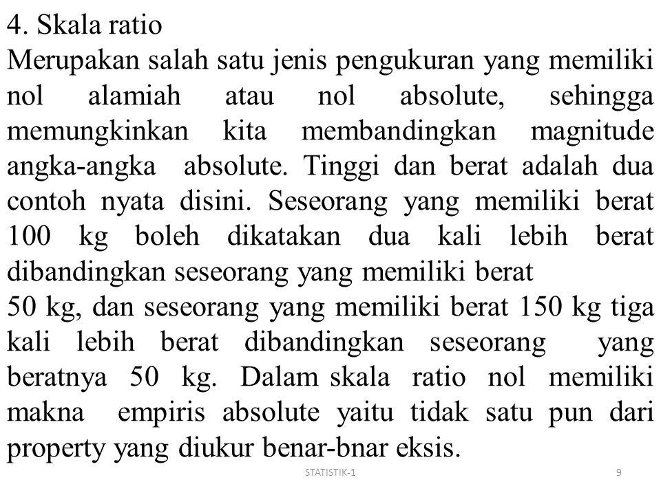 STATISTIK-19 4. Skala ratio Merupakan salah satu jenis pengukuran yang memiliki nol alamiah atau nol absolute, sehingga memungkinkan kita membandingka