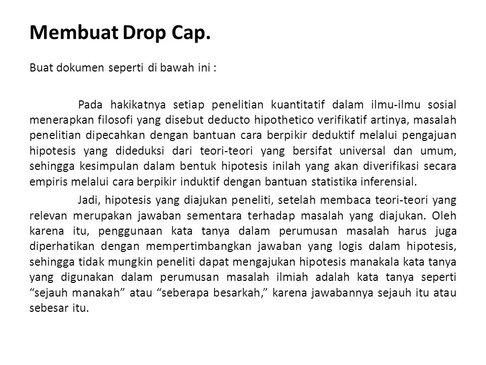 Membuat Drop Cap.