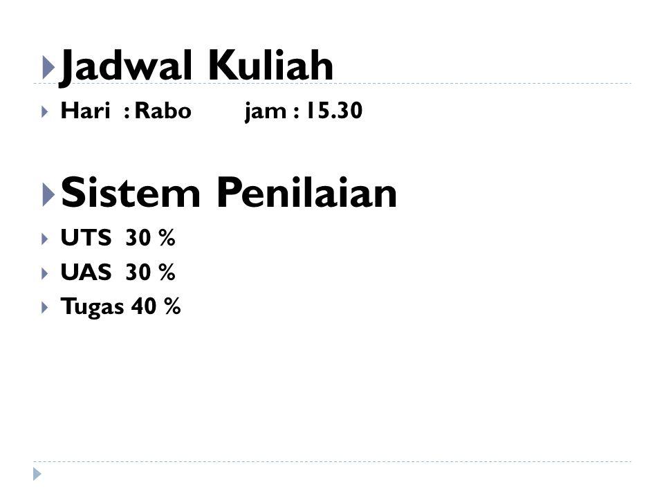  Jadwal Kuliah  Hari : Rabo jam : 15.30  Sistem Penilaian  UTS 30 %  UAS 30 %  Tugas 40 %
