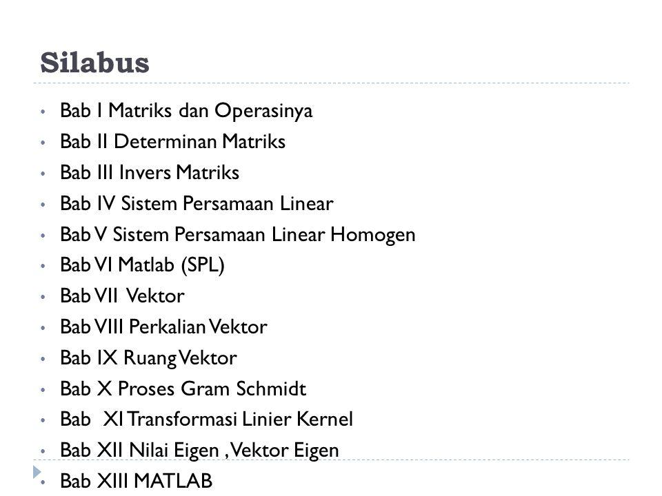 Silabus Bab I Matriks dan Operasinya Bab II Determinan Matriks Bab III Invers Matriks Bab IV Sistem Persamaan Linear Bab V Sistem Persamaan Linear Hom