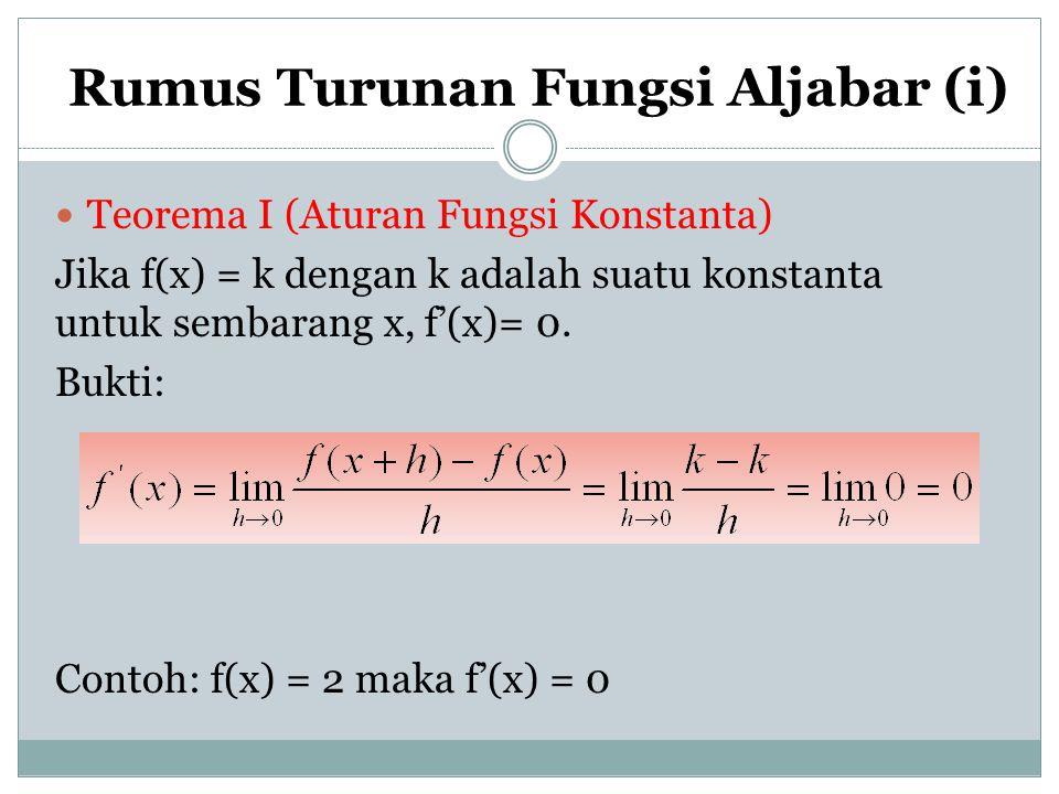 Rumus Turunan Fungsi Aljabar (i) Teorema I (Aturan Fungsi Konstanta) Jika f(x) = k dengan k adalah suatu konstanta untuk sembarang x, f'(x)= 0. Bukti:
