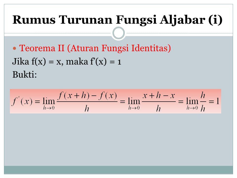 Rumus Turunan Fungsi Aljabar (i) Teorema II (Aturan Fungsi Identitas) Jika f(x) = x, maka f'(x) = 1 Bukti: