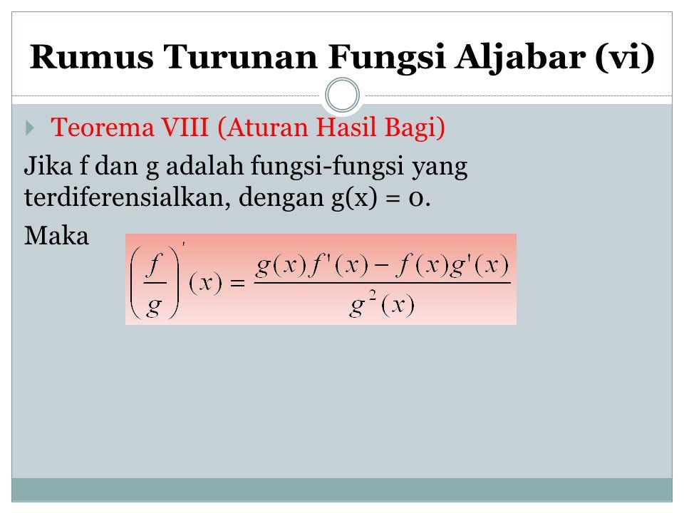 Rumus Turunan Fungsi Aljabar (vi)  Teorema VIII (Aturan Hasil Bagi) Jika f dan g adalah fungsi-fungsi yang terdiferensialkan, dengan g(x) = 0. Maka