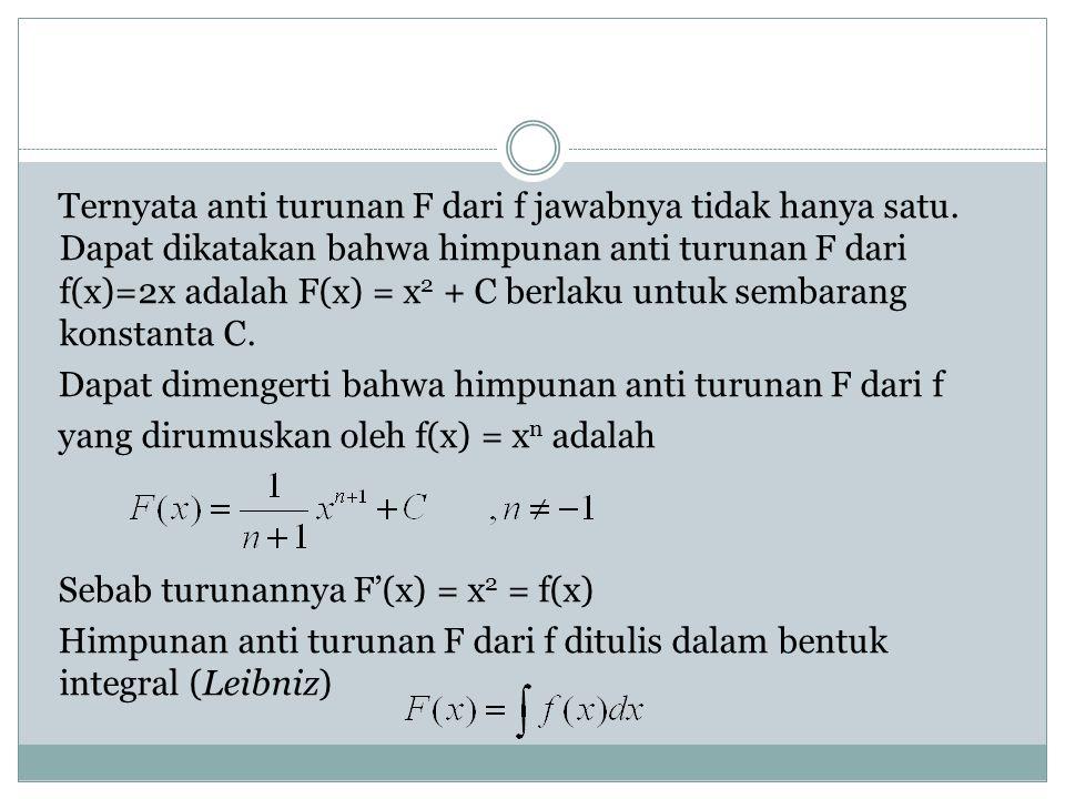 Ternyata anti turunan F dari f jawabnya tidak hanya satu. Dapat dikatakan bahwa himpunan anti turunan F dari f(x)=2x adalah F(x) = x 2 + C berlaku unt