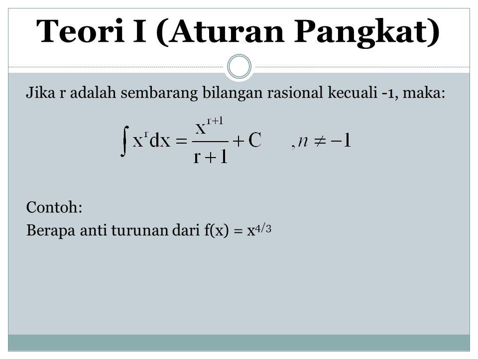 Teori I (Aturan Pangkat) Jika r adalah sembarang bilangan rasional kecuali -1, maka: Contoh: Berapa anti turunan dari f(x) = x 4/3