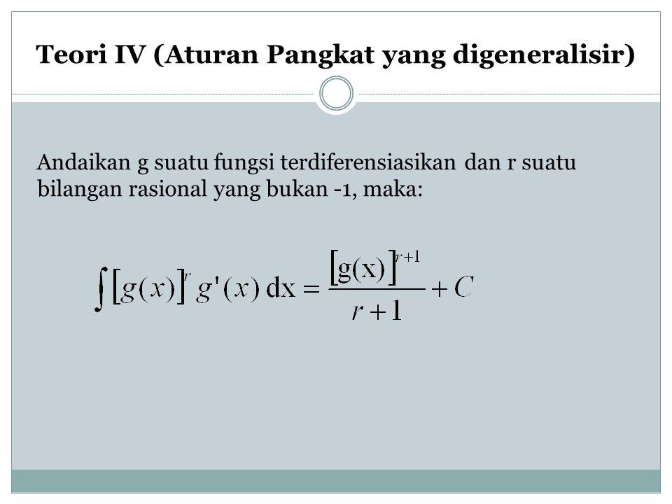 Teori IV (Aturan Pangkat yang digeneralisir) Andaikan g suatu fungsi terdiferensiasikan dan r suatu bilangan rasional yang bukan -1, maka: