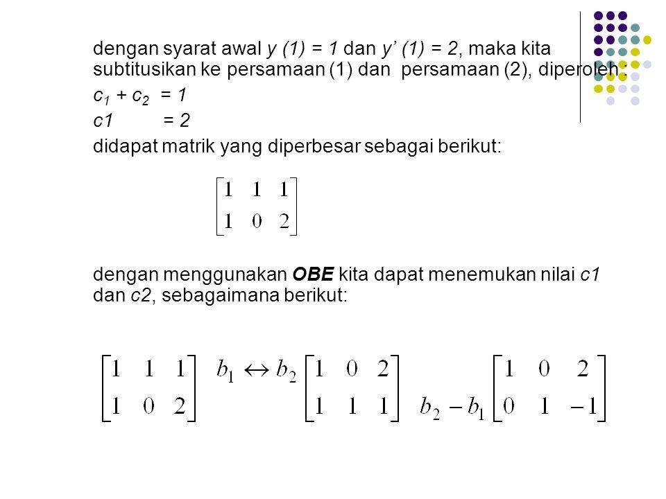 Penyelesaian: Untuk meyelesaikan persamaan Diferensial diatas kita dapat langsung mengintegralkannya: (1) kemudian kita integralan lagi sehingga didap