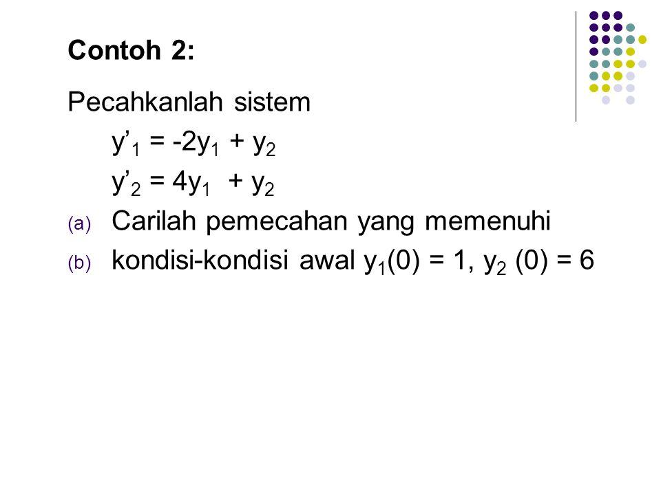 sehingga didapat c 1 = 2 dan c 2 = -1. maka penyelesaian khusus (particular solution) dari persamaan diferensial diatas adalah y = 2x -1