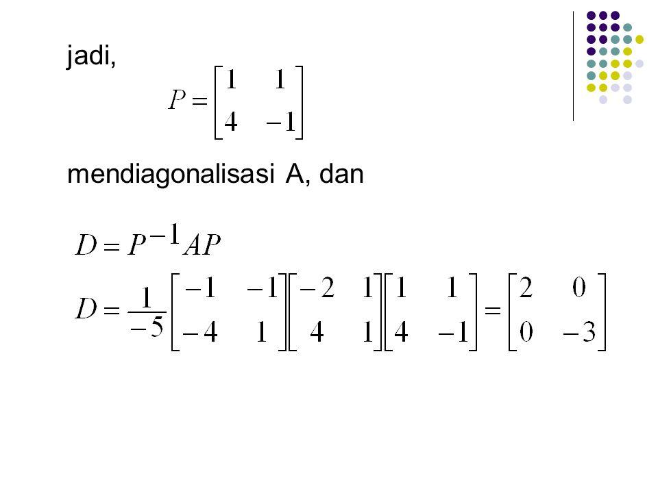 diperoleh persamaan baru misal x 1 = t maka x 2 = -t. sehingga jadi, adalah sebuah basis untuk ruang eigen yang bersesuaian dengan = -3.
