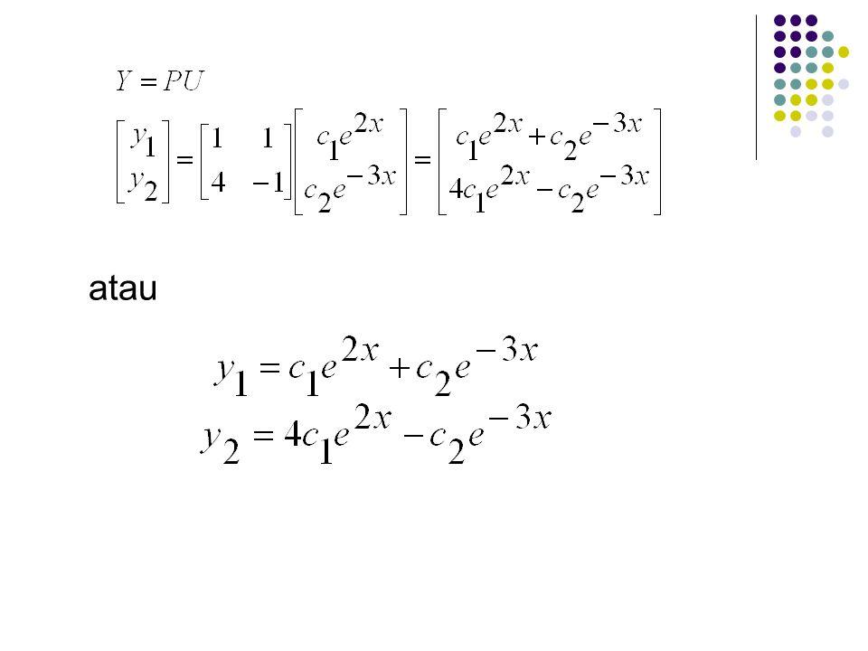 kita pecahkan U' = DU, didapat pemecahannya adalah sehingga persamaan Y = PU menghasilkan Y sebagai pemecahan baru