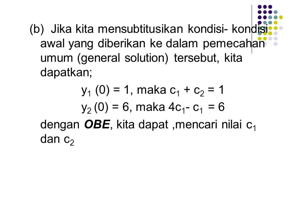 (b) Jika kita mensubtitusikan kondisi-kondisi awal yang diberikan ke dalam pemecahan umum (general solution) tersebut, kita dapatkan; y 1 (0) = 1, maka c 1 + c 2 = 1 y 2 (0) = 6, maka 4c 1 - c 1 = 6 dengan OBE, kita dapat,mencari nilai c 1 dan c 2