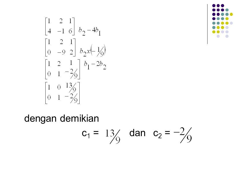 (b) Jika kita mensubtitusikan kondisi-kondisi awal yang diberikan ke dalam pemecahan umum (general solution) tersebut, kita dapatkan; y 1 (0) = 1, mak