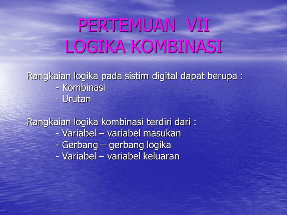 PERTEMUAN VII LOGIKA KOMBINASI Rangkaian logika pada sistim digital dapat berupa : - Kombinasi - Urutan Rangkaian logika kombinasi terdiri dari : - Va
