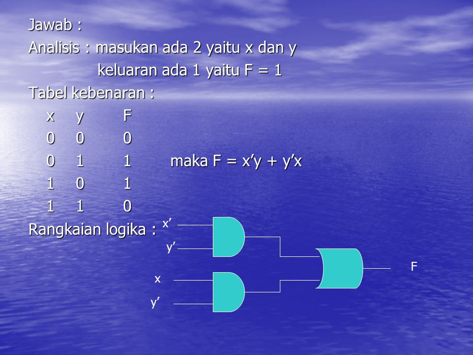 Jawab : Analisis : masukan ada 2 yaitu x dan y keluaran ada 1 yaitu F = 1 keluaran ada 1 yaitu F = 1 Tabel kebenaran : xyF 000 011maka F = x'y + y'x 1