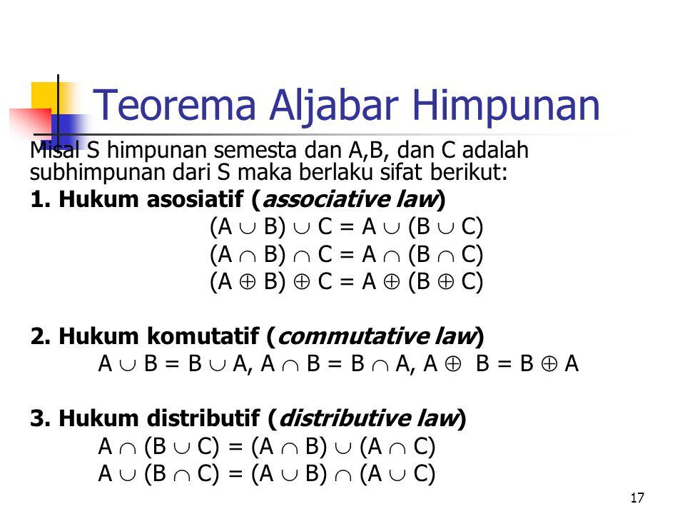 17 Teorema Aljabar Himpunan Misal S himpunan semesta dan A,B, dan C adalah subhimpunan dari S maka berlaku sifat berikut: 1. Hukum asosiatif (associat