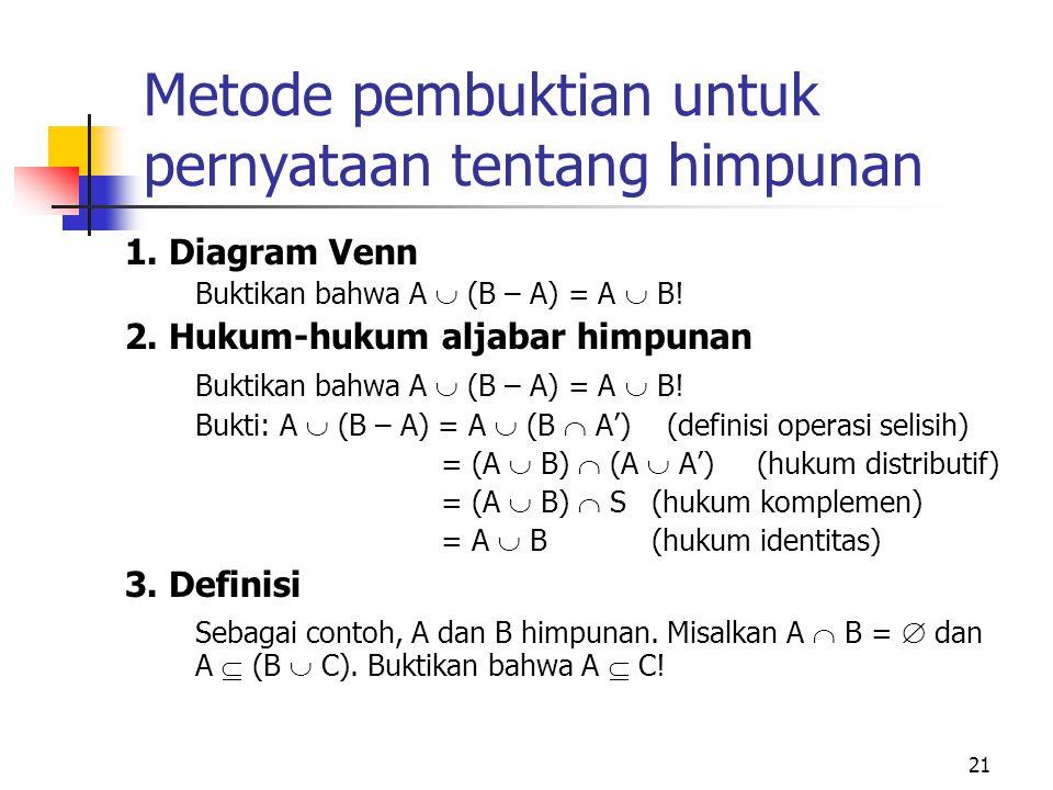 21 Metode pembuktian untuk pernyataan tentang himpunan 1. Diagram Venn Buktikan bahwa A  (B – A) = A  B! 2. Hukum-hukum aljabar himpunan Buktikan ba