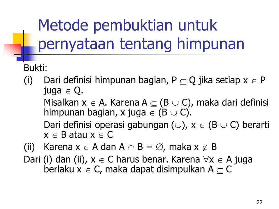 22 Metode pembuktian untuk pernyataan tentang himpunan Bukti: (i) Dari definisi himpunan bagian, P  Q jika setiap x  P juga  Q. Misalkan x  A. Kar