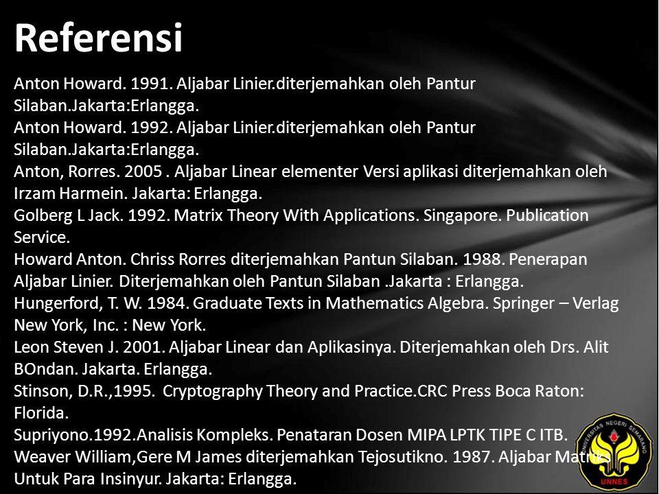 Referensi Anton Howard. 1991. Aljabar Linier.diterjemahkan oleh Pantur Silaban.Jakarta:Erlangga. Anton Howard. 1992. Aljabar Linier.diterjemahkan oleh