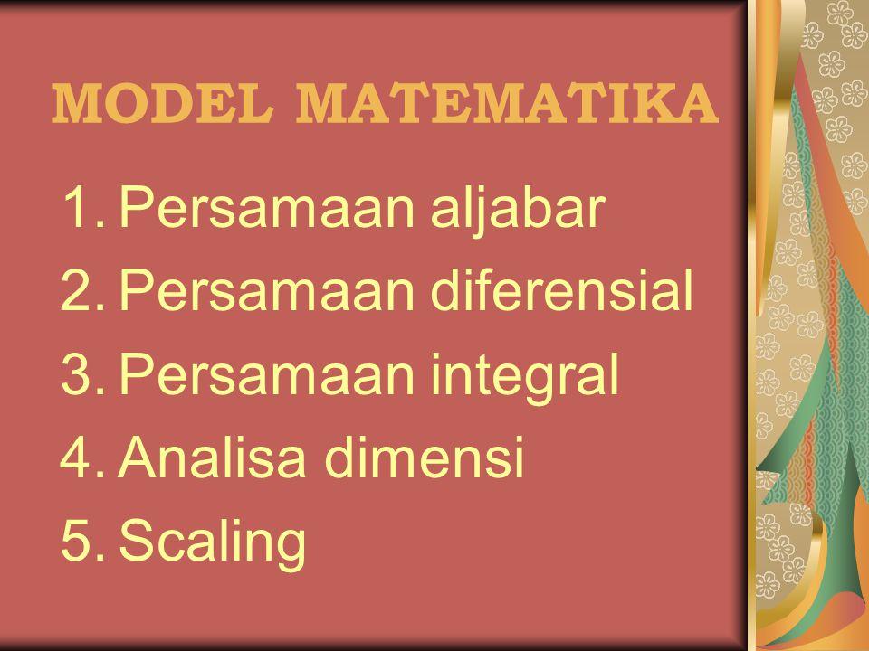 MODEL MATEMATIKA 1.Persamaan aljabar 2.Persamaan diferensial 3.Persamaan integral 4.Analisa dimensi 5.Scaling