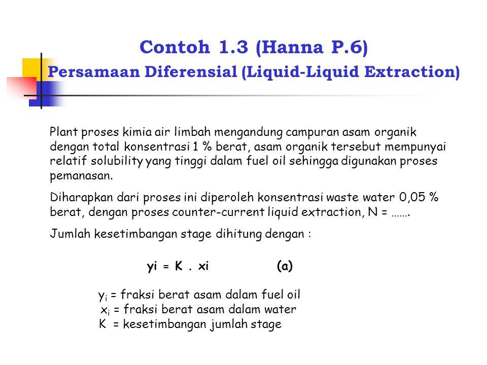 Contoh 1.3 (Hanna P.6) Persamaan Diferensial (Liquid-Liquid Extraction) Plant proses kimia air limbah mengandung campuran asam organik dengan total ko