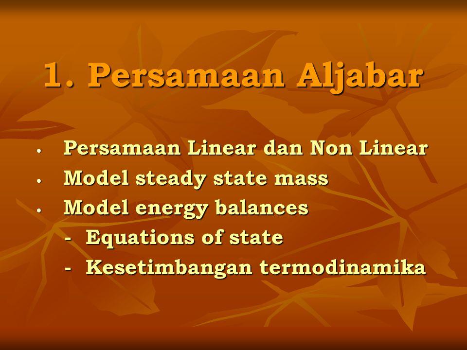 Contoh 1.1 (Hanna P.2) Persamaan Linear (Plant Mass Balance) Air, W Treated Udara, Ao 3 % Air Absorber Udara, Ai 8 % Acetone Kondensor Recovered Acetone, V Flash Separator Equeous Waste, L X Acetone = 0,03 Gambar 1.1.