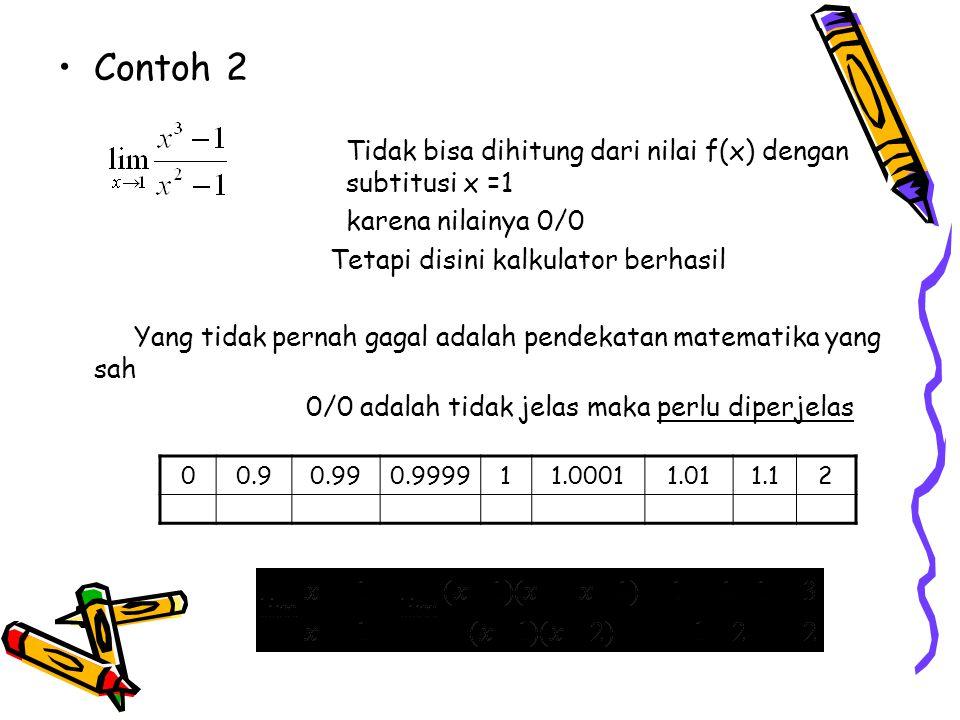 Contoh 2 Tidak bisa dihitung dari nilai f(x) dengan subtitusi x =1 karena nilainya 0/0 Tetapi disini kalkulator berhasil Yang tidak pernah gagal adalah pendekatan matematika yang sah 0/0 adalah tidak jelas maka perlu diperjelas 00.90.990.999911.00011.011.12 11.4261.49251.499921.51.5000751.50751.577/3