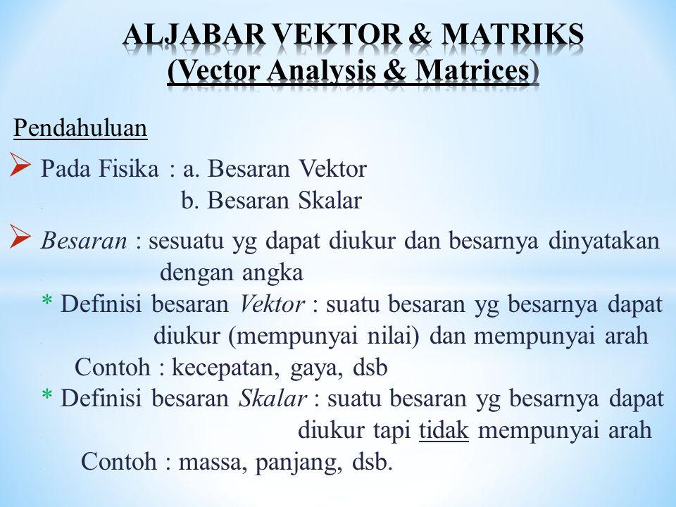 Pendahuluan  Pada Fisika : a. Besaran Vektor. b. Besaran Skalar  Besaran : sesuatu yg dapat diukur dan besarnya dinyatakan. dengan angka * Definisi