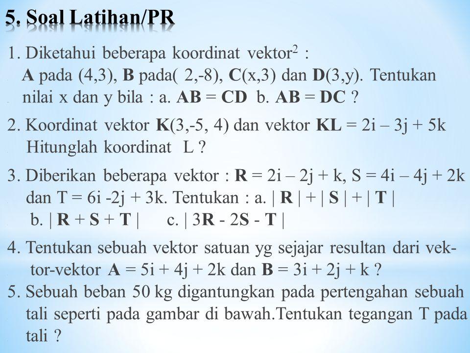 1. Diketahui beberapa koordinat vektor 2 :. A pada (4,3), B pada( 2,-8), C(x,3) dan D(3,y). Tentukan. nilai x dan y bila : a. AB = CD b. AB = DC ? 2.