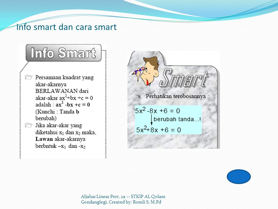 Info smart dan cara smart Aljabar Linear Pert.