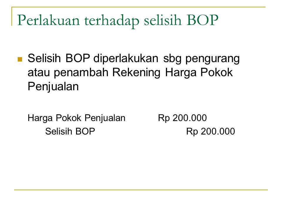Perlakuan terhadap selisih BOP Selisih BOP diperlakukan sbg pengurang atau penambah Rekening Harga Pokok Penjualan Harga Pokok PenjualanRp 200.000 Selisih BOPRp 200.000