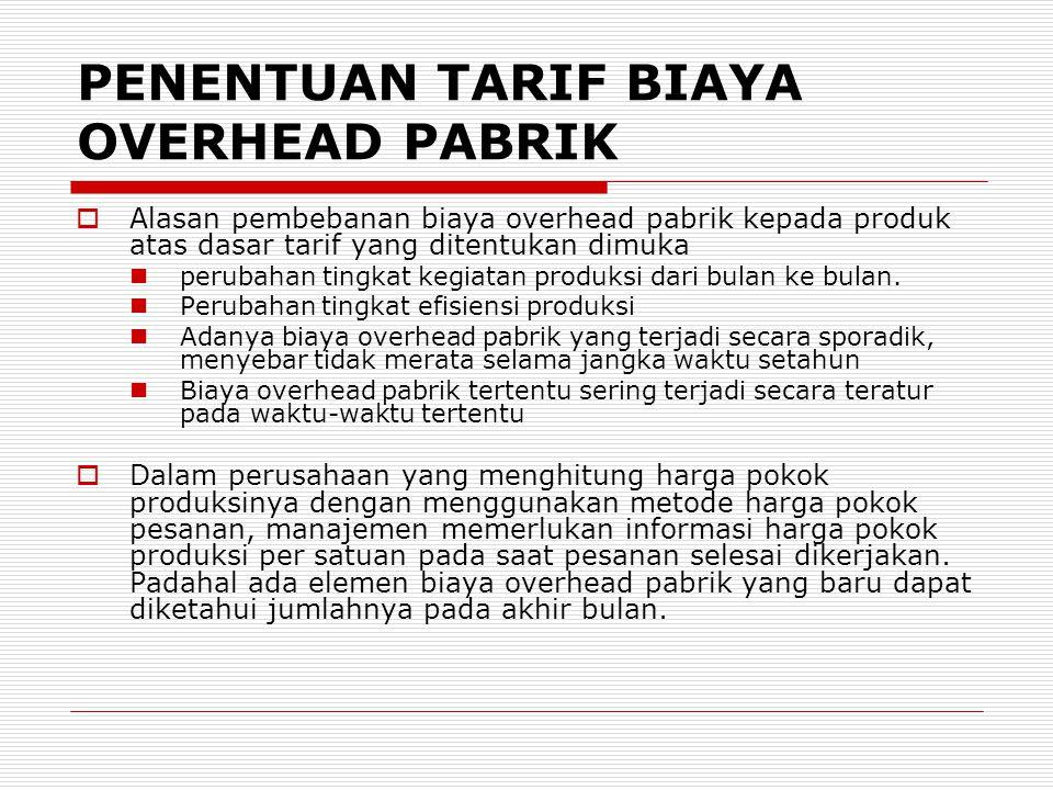 PENENTUAN TARIF BIAYA OVERHEAD PABRIK  Alasan pembebanan biaya overhead pabrik kepada produk atas dasar tarif yang ditentukan dimuka perubahan tingka