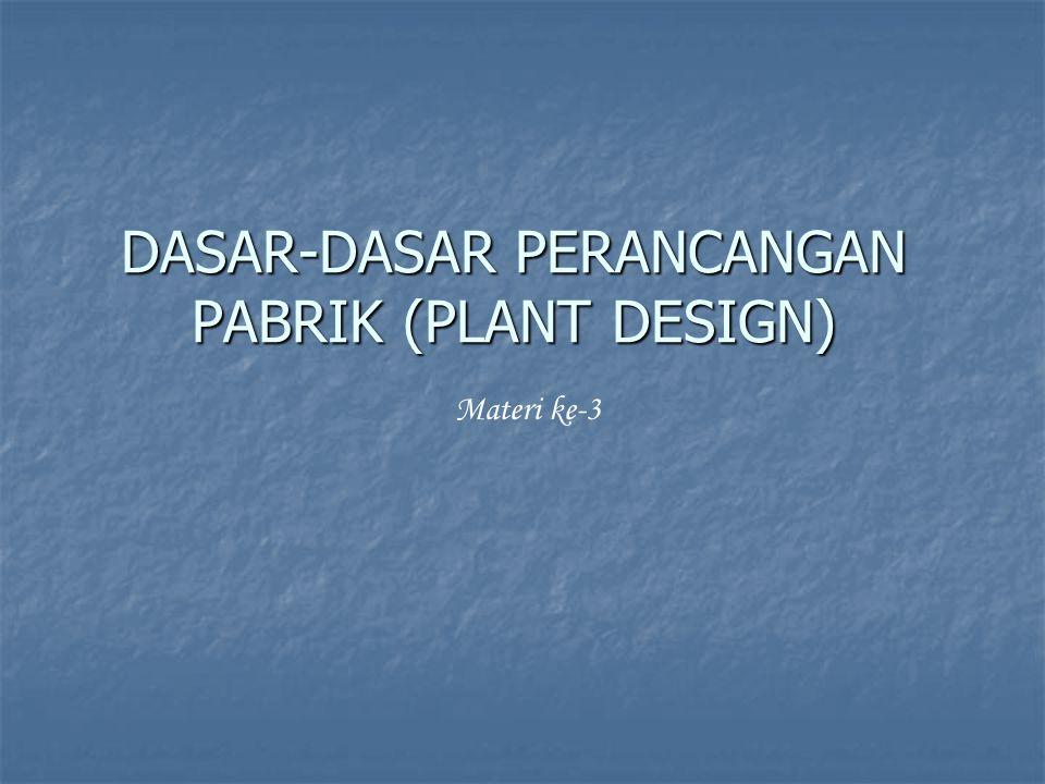 DASAR-DASAR PERANCANGAN PABRIK (PLANT DESIGN) Materi ke-3