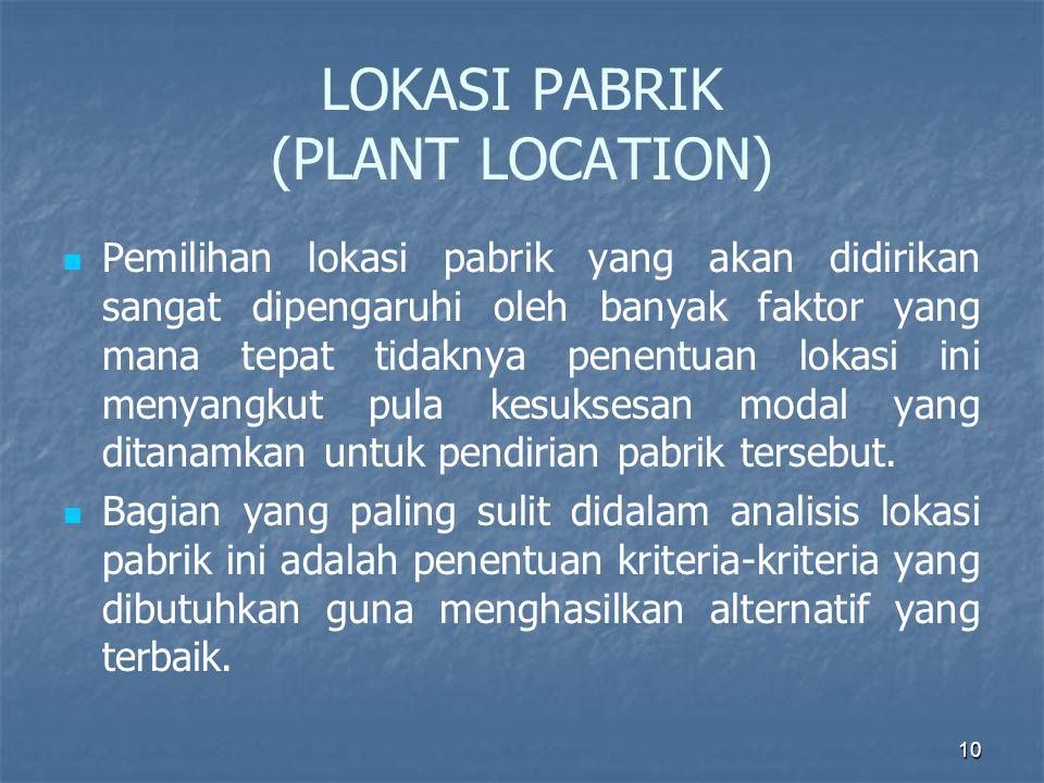 10 LOKASI PABRIK (PLANT LOCATION) Pemilihan lokasi pabrik yang akan didirikan sangat dipengaruhi oleh banyak faktor yang mana tepat tidaknya penentuan