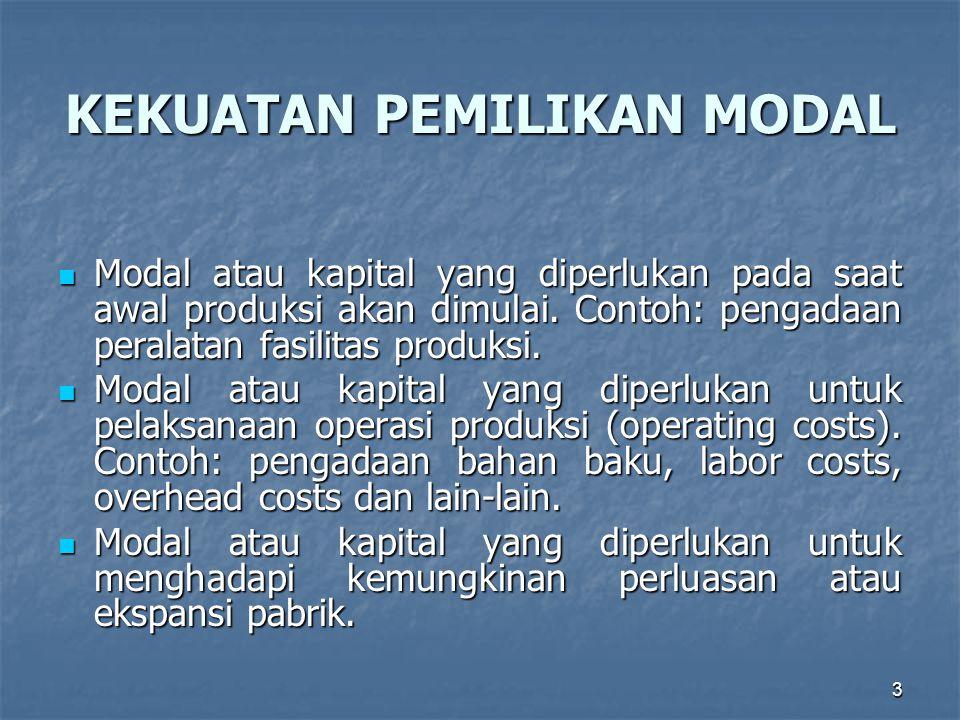 3 KEKUATAN PEMILIKAN MODAL Modal atau kapital yang diperlukan pada saat awal produksi akan dimulai. Contoh: pengadaan peralatan fasilitas produksi. Mo