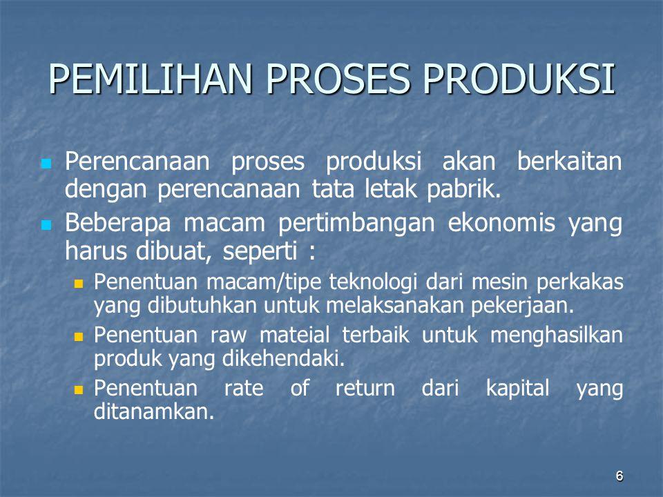 6 PEMILIHAN PROSES PRODUKSI Perencanaan proses produksi akan berkaitan dengan perencanaan tata letak pabrik. Beberapa macam pertimbangan ekonomis yang