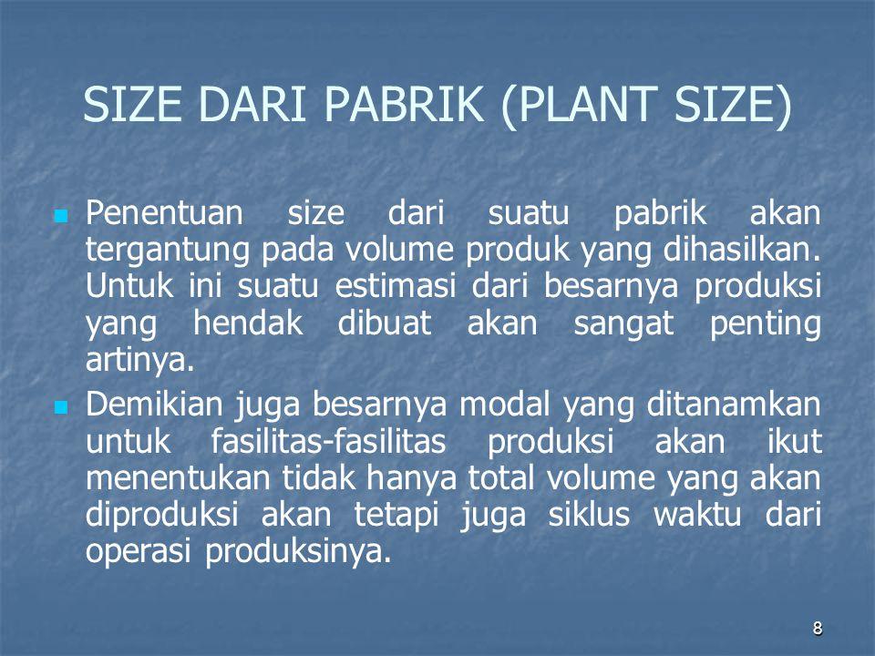 8 SIZE DARI PABRIK (PLANT SIZE) Penentuan size dari suatu pabrik akan tergantung pada volume produk yang dihasilkan. Untuk ini suatu estimasi dari bes