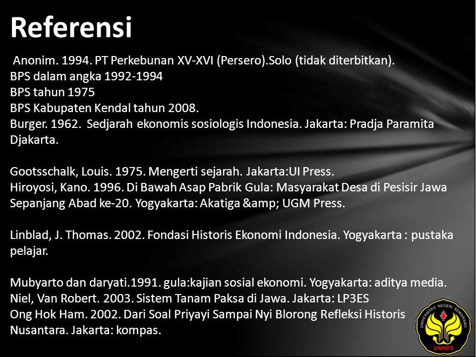 Referensi Anonim. 1994. PT Perkebunan XV-XVI (Persero).Solo (tidak diterbitkan).