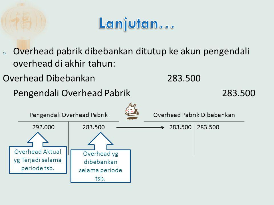 o Overhead pabrik dibebankan ditutup ke akun pengendali overhead di akhir tahun: Overhead Dibebankan283.500 Pengendali Overhead Pabrik283.500 283.500 Overhead Pabrik Dibebankan 292.000283.500 Pengendali Overhead Pabrik Overhead Aktual yg Terjadi selama periode tsb.